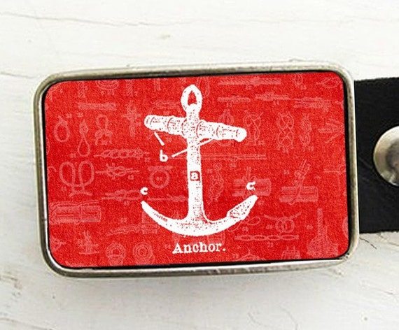 Nautical Belt Buckle- Vintage Anchor- Red