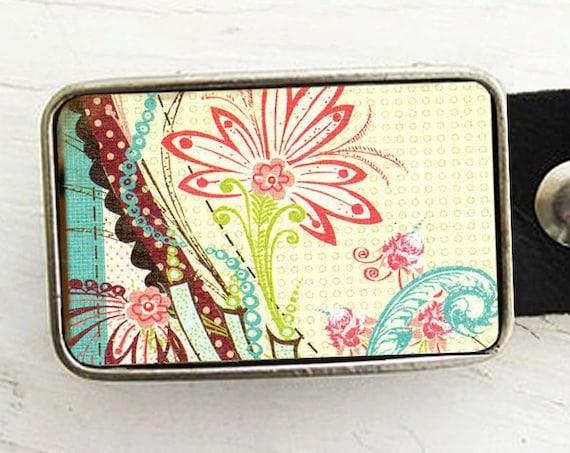 Vintage Flower Belt Buckle -Shabby Chic