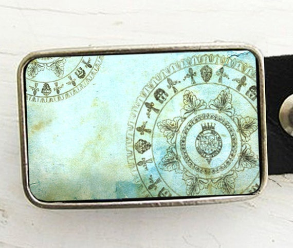 Turquoise Wheel of Fortune Belt Buckle