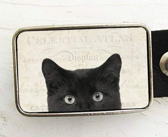 Belt Buckle Black Cat- Halloween Belt Buckle- Peeping Tom