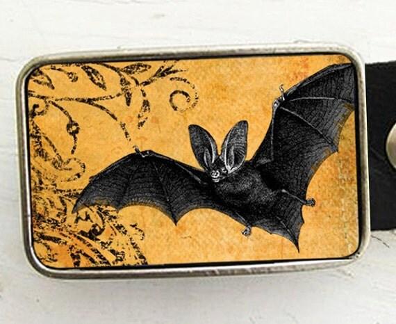 Belt Buckle Orange Bat Halloween