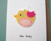 Eco friendly new baby hand stitched card