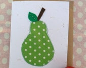 Eco friendly fruits set of 4 cards - 2 pears, strawberry & apple blank