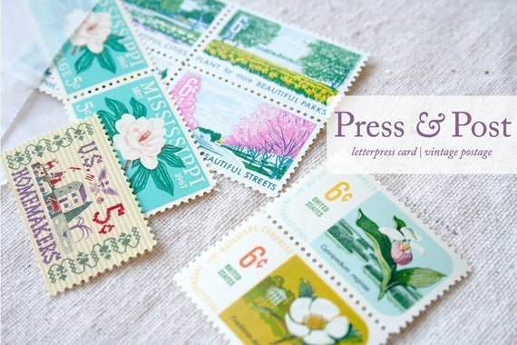 Press and Post - Letterpress Card and Vintage Postage Stamps - 3 Months