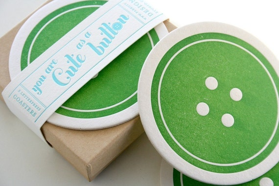 Button Letterpress Coaster - set of 8