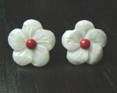 Crimson Cream Cherry Blossom Earrings