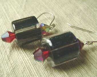 Black Magic Tubes Black and Red Furnace Glass Earrings