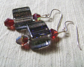 CLEARANCE !!! Black Magic Cubes Black and Red Furnace Glass Earrings