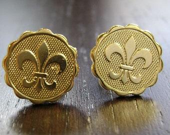 Fleur de Lis Gold Rebirth Mini Medallion Stud Earrings -- Bright Finish
