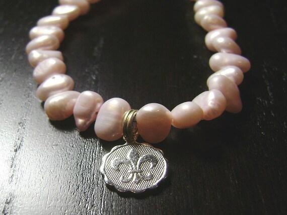 Rebirth Fleur de Lis Mini Medallion Necklace -- Pink/Silver