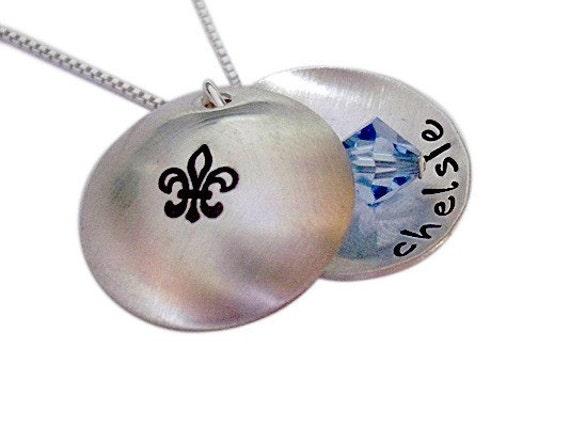 Custom Hand Stamped Fleur de Lis Keepsake Locket Necklace with Name and Birthstone
