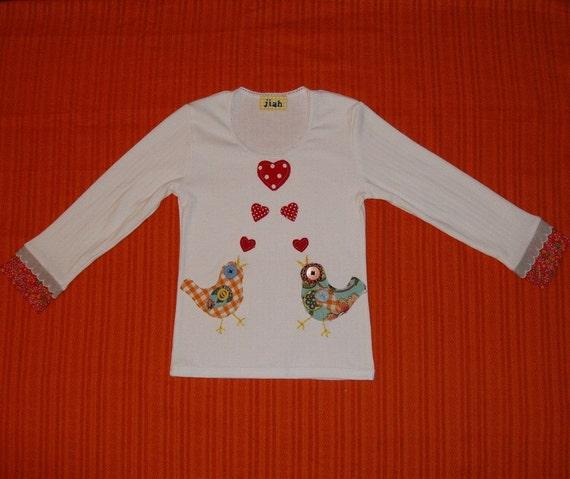Love Birds Long Sleeve Top- White -Size 2-5