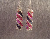 Sapphire and Iridescent Pink Crystal spiral earrings - Reserved for Virginia