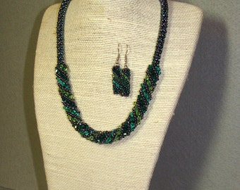 Greens in Grey Russian Spiral Necklace and Earring Set