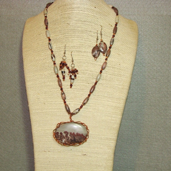 Jasper and Garnet necklace and earrings set