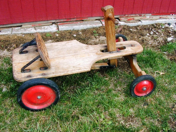 Vintage Irish Mail Cart Toy Car Wagon Push Pull Wooden
