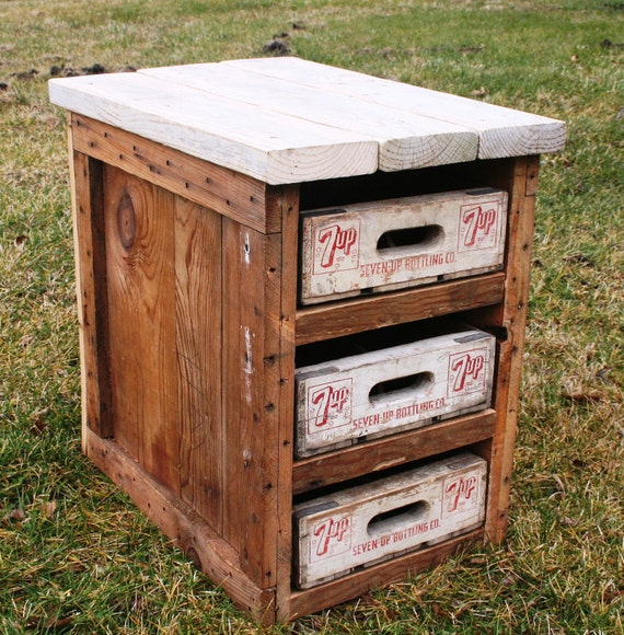 Rustic cedar end table with 7up crate drawers for kate mallen for Wooden crate end table
