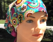 SMALL Surgical Scrub Cap or Cancer Hat -Perfect Fit Tie Back with RIBBON TIES- Passion Paisley