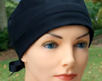 Scrub Hat- The Mini with Ribbon Ties- Black