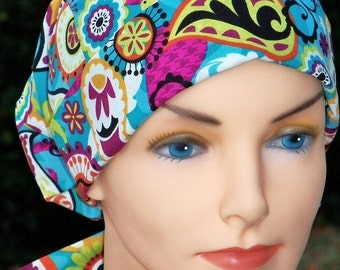 SMALL Surgical Scrub Hat Cap Chemo Cap- Perfect Fit Tie Back with FABRIC TIES- Passion Paisley