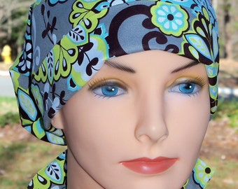 LARGE Womens Surgical Scrub Caps with Fabric Ties - Perfect Fit Tie Back - Harmony