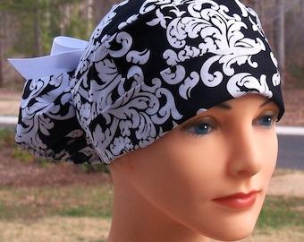 Scrub Hats // Scrub Caps // Scrub Hats for Women // The Hat Cottage // Ponytail // Black and White Damask