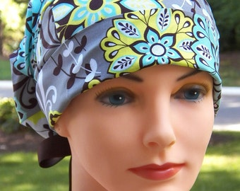 SMALL Surgical Scrub Cap or Cancer Hat -Perfect Fit Tie Back with RIBBON TIES- Harmony