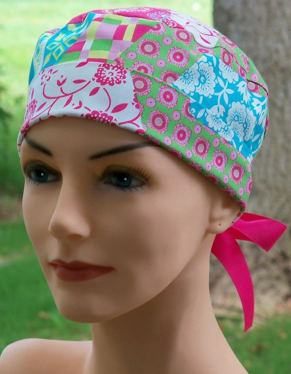 Tie Back MINI Scrub Hat Chemo Cap