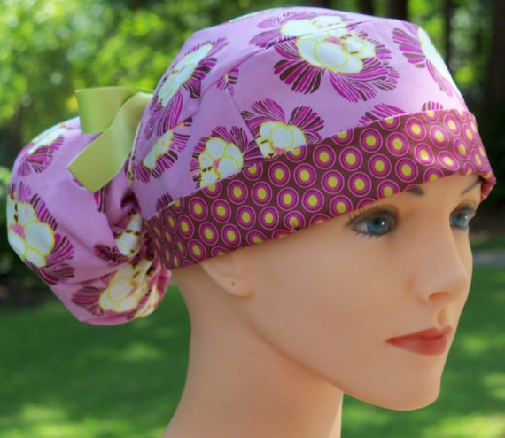 Ponytail Scrub Hat for Women- Orchids