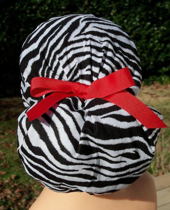 Animal Print Surgical Scrub Hat- Perfect Fit Ponytail- Zebra