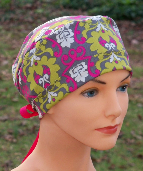 Surgical Scrub Hat or Chemo Cap- The Mini- Garden Damask