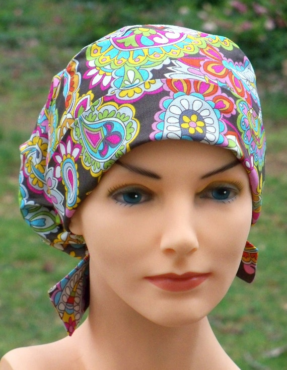 Surgical Scrub Hat Chemo Cap- Perfect Fit Tie Back- Catherine Paisley