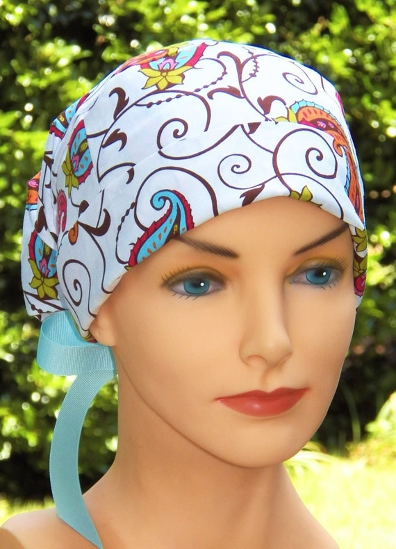 Surgical Scrub Cap or Cancer Hat -Perfect Fit Tie Back with RIBBON TIES- Moroccan Paisley