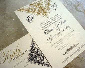 Wedding Invitation Alencon Lace Collection - Invitation and Reply Card