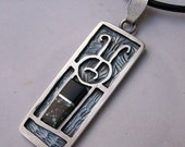 Nicaragua-inspired Silver Petroglyph Pendant - Contemporary w\/ black jade, turquoise