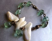 Lake Ponchartrain bracelet with green fluorite and baroque mother of pearl