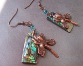 iris aurora earrings with abalone and copper