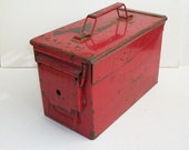 RESERVED for RW-FF Vintage Red Metal Ammo Box Weathered Ammuntion Case