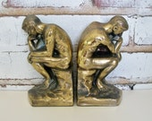 The Thinker Metal Bookends Vintage Thinking Men