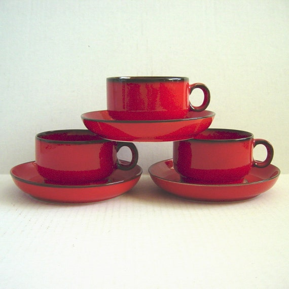 3 Vintage Thomas Cinnabar Red Flame Cup and Saucer Sets Germany