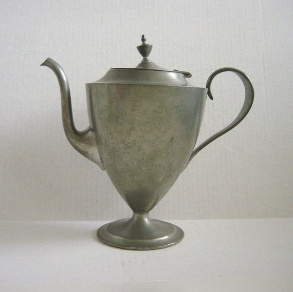 Dented and Warped Vintage Pewter Teapot  Footed Base