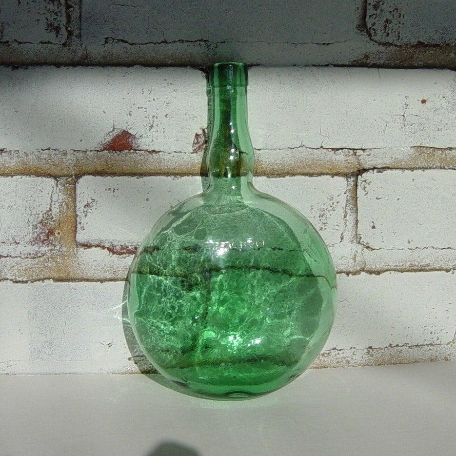 Vintage green glass wine bottle round flask body for Green glass wine bottles