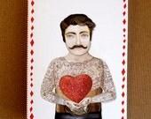 Tattooed Man Paper Cut Out Heart Card