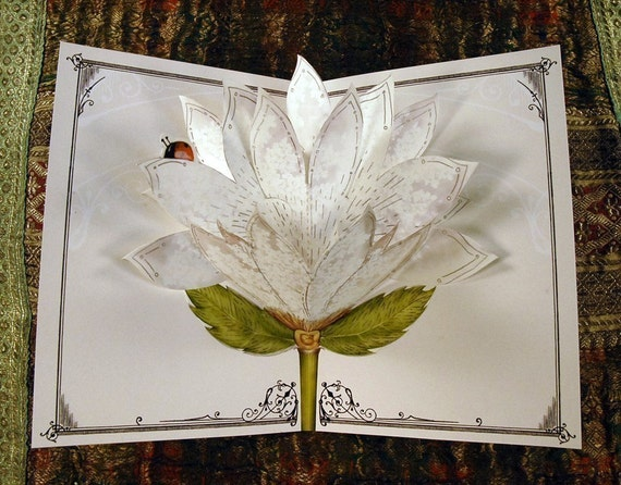 White Lace Blooming Popup Card