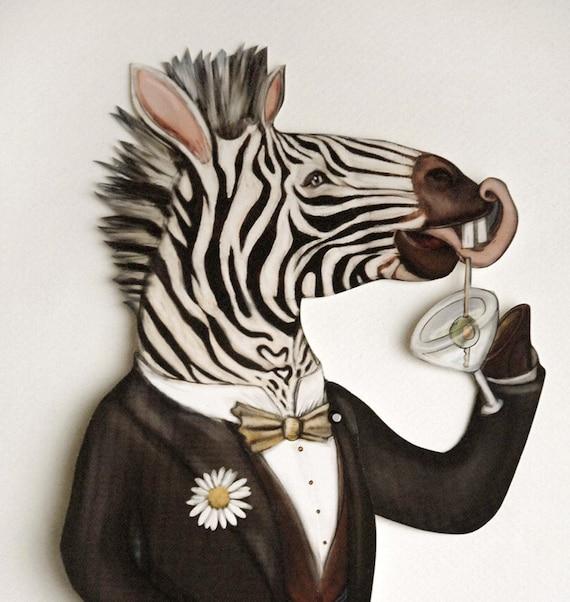 Festive Zebra Marionette Paper Puppet