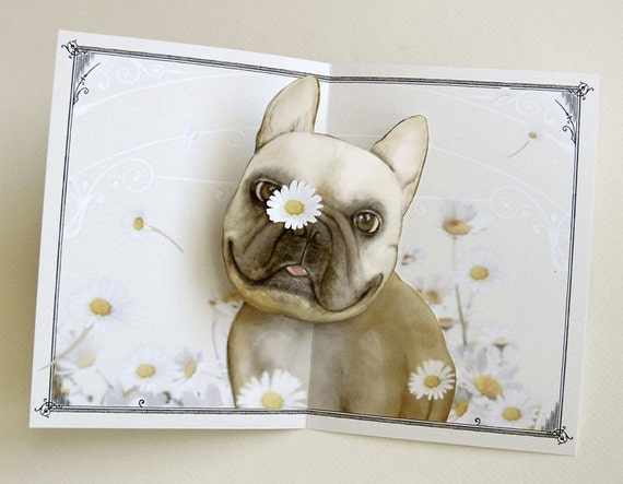 Pushing Up Daisies French Bulldog Pop Up Card