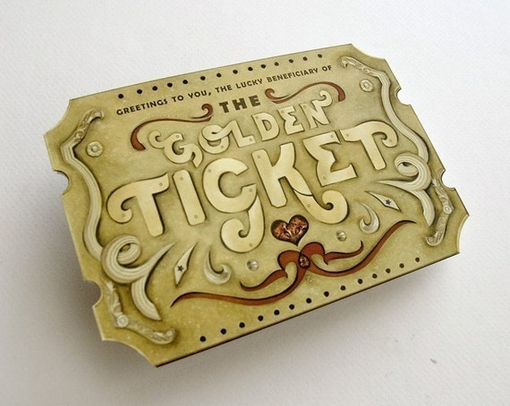 Golden Ticket Scratch Off Card with custom message