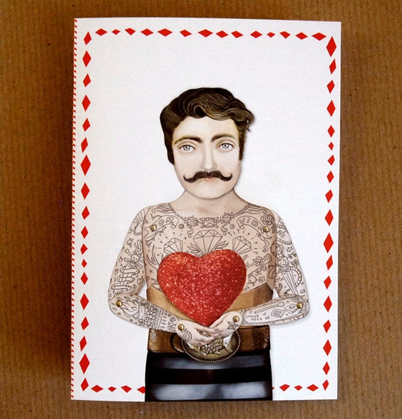 Tattooed Man Paper Cut Out Heart Card