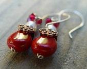 Cynthia Earrings swarovski vegan pearl deep red czech glass copper silver