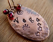 VEGAN hand stamped copper pendant with reiki infused garnets on 16 inch necklace chain
